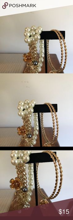 Pearl and gold bracelet Pearl bracelet with gold charm and gold bangles Jewelry Bracelets
