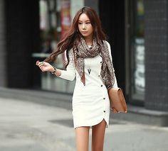 Women Cotton Ladie's Winter Dress Evening Clothes Long Sleeve Dress Party Dress | eBay