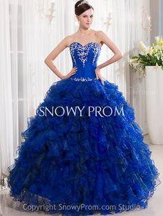 Corset Royal Blue Long Ruffled Sweetheart Ball Gown Quinceanera Dress - US$212.99 - Style P1213 - Snowy Prom