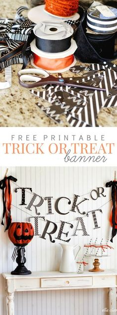 Add this Free Printable Trick or Treat Banner to your Halloween decor by just printing onto cardstock! Perfect for a halloween treat table!