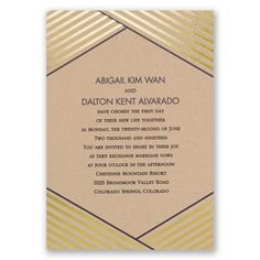 An illusion of depth and texture is achieved through clever design on these striking wedding invitations. Real foil stripes surround your wording on the front, adding a touch of shimmer to an already unforgettable invite. A matching pattern in your choice of color surrounds your names and wedding date on the back. Stripes and wording are printed in your choice of colors and fonts. These foil wedding invitations are printed on 100 lb kraft paper. Foil is only printed on the front of these…