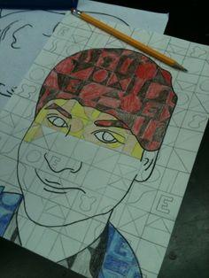Mr. MintArt Students create self-portrait using Chuck Close Style