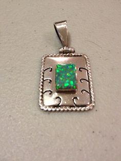 Fire Opal Pendant Sterling Silver 950 Mexican by BargainBitz, $58.00