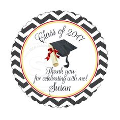 "Custom Graduation Printable Tag- 2.5"" Printable Graduation Thank you Tags-Chevron Background Graduation Tags- Digital file by StudioIdea on Etsy"