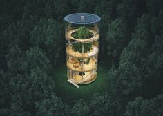 """culturenlifestyle: """" Stunning Innovative Cylindrical Glass House Built Around A Tree Kazakh architect Aibek Almassov re-imagines the concept of living in a """"treehouse"""" by ingeniously designing a. Architecture Durable, Green Architecture, Sustainable Architecture, Amazing Architecture, Architecture Design, House Built, Glass House, Exterior Design, Building A House"""