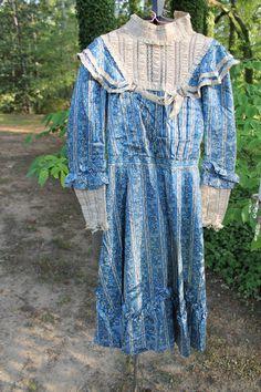 Rare Antique Victorian Blue Silk Young Girl's Dress.