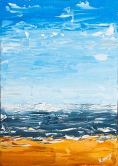 Original Maine Beach Painting Seascape Art Palette Knife on Panel ~ I like the knife work