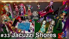 JACUZZI & MAGIC CARPET! This common area of our 50+ Monster High doll house features all Shull Shores dolls and SDCC Whisp on the Bratz Magic Carpet Ride play set. http://www.superbuddiesforever.com/ #monsterhighdollhouse