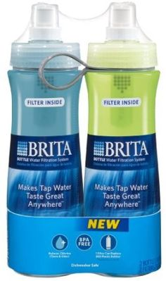 Amazon.com: Brita Soft Squeeze Water Filter Bottle, Twin Pack, Blue & Green ~ for tasty water .  This product is not for taking water out of your local stream.