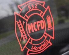 Firefighter Car Decal, Fireman Vehicle Window Decal, Firefighter Yeti Decal. RTIC Sticker, FF Ozark Trail Decal, Fire Department Laptop