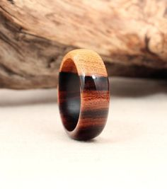 Ironwood & Sapwood. Handmade (using recycled wood) by Rochester's Wedgewood Rings.