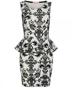 Multi Cocktail Dress - Black and Cream Sleeveless