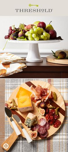 Charcuterie for two or hosting friends, family and then some, Threshold has everything you'll need to entertain in style this season. A few of our favorite serves? A real marble cake stand to elevate fresh fruit and a solid wood cutting board and cheese tools to serve up tasty fromage, meats and garnishes. Easy on the eyes, taste buds and your wallet. Threshold, only at Target.