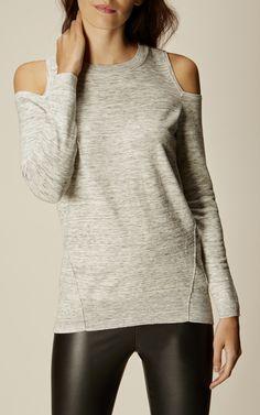 Karen Millen, COLD-SHOULDER SWEATER Pale Grey