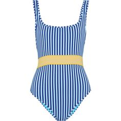 Diane von Furstenberg Belted striped swimsuit ($230) ❤ liked on Polyvore featuring swimwear, one-piece swimsuits, azure, striped one-piece swimsuits, bathing suit swimwear, swim costume and striped bathing suit