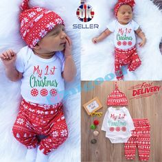 Lovely newborn baby boy girl first christmas clothes #romper #pants hat #outfit s,  View more on the LINK: 	http://www.zeppy.io/product/gb/2/232132023793/