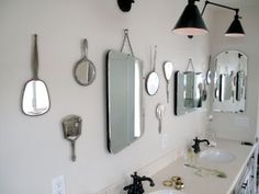 Mirrors in the bathroom.