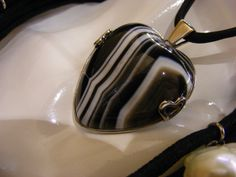 striped agate pendant mounted on a rhodium-plated silver mm43 x 40 made ​​in Italy