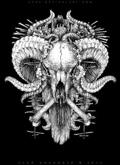 Ram Skull by VladGradobyk on DeviantArt Dark Art Illustrations, Dark Art Drawings, Ram Skull, Skull Art, Ram Tattoo, Satanic Art, Dark Artwork, Skull Illustration, Dark And Twisted
