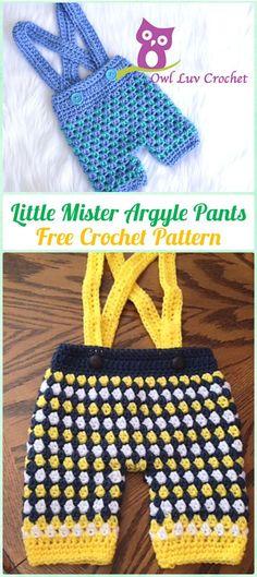 Crochet Little Mister Argyle Pants Free Pattern - Crochet Baby Pants Free Patterns