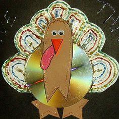 CD Turkey Thanksgiving Craft | AllFreeKidsCrafts.com