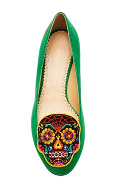 Day Of The Dead Embroidered Suede Loafers in Green by Charlotte Olympia - Moda Operandi