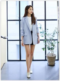 Bongjashop - Notched-Lapel Single-Breasted #Jacket #koreanfashionsale