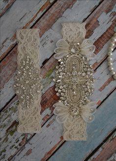 New Design Rhinestone Wedding Garter, Rhinestonel Bridal Garter Set, Unique Ivory Bridal Garter Belt, Vintage Style Garter Set by SpecialTouchBridal on Etsy
