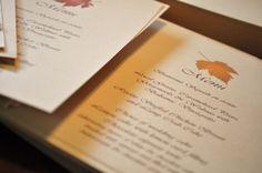 Fall Wedding Menu Cards Fall Leaves Autumn by alittlemorerosie, $75.00