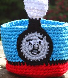 Wacky Woolies and Wicked Stitches: Crochet Thomas the Train Easter Basket Pattern