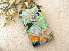 Deep Golden Green Iris Necklace Fused Glass Jewelry by ccvalenzo