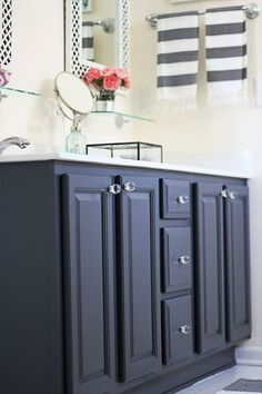 repainted bathroom vanity | from oak to charcoal gray | benjamin moore satin gray 2121-10 | two delighted?