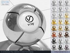 Vray Metal Materials 3D Модель .max .c4d .obj .3ds .fbx .lwo .stl @3DExport.com by ARHIGREGDESIGN