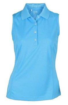 Adidas Taylormade Womens Climalite Sleeveless Solid Polo Shirt Large 6 Cosmic Blue *** Click affiliate link Amazon.com on image for more details.