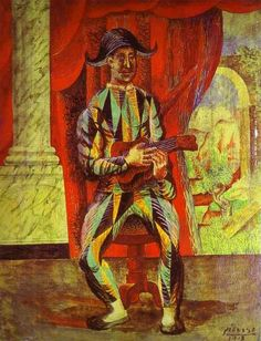 """Picasso: """"Harlequin with a Guitar"""" (Collection H. Berggruen, Paris, France)    Questions to ask children: What instrument is the man playing? What do you see behind the curtain?"""