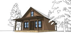 A small cabin with a bedroom and loft. It's small, affordable, and great as a getaway spot. - House Plan 67535 - Cabin Style House Plan with 860 Sq Ft , 2 Bed , 1 Bath Cabin House Plans, Family House Plans, Tiny House Cabin, Best House Plans, Country House Plans, Cabin Homes, Small House Plans, House Floor Plans, Tiny Cabins
