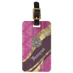 Magenta pink ornate girly damask luggage tag - girly gifts special unique gift idea custom