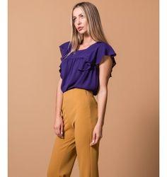 Μπλούζα Ζορζέτα με Βολάν μανίκια - Βιολετί Purple, Pants, Black, Dresses, Fashion, Trouser Pants, Vestidos, Moda, Black People