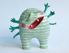 Paper mache monster with 6 arms. by Mierpapier on Etsy, €21.00