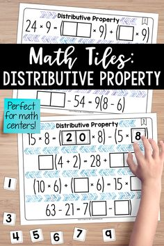 This is the perfect math center for distributive property.  This set of math tiles activates critical thinking and problem-solving skills, all while building a true understanding of the distributive property and the ability to identify when two expressions are equivalent.