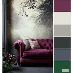 New Living Room Paint Schemes Green Grey Ideas Living Room Decor Purple, Living Room Color Schemes, Living Room Green, Colour Schemes, Paint Schemes, Living Rooms, Grey Living Room Ideas Colour Palettes, Interior Design Color Schemes, Purple Home Decor