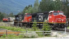 Locomotives in Albreda Sub. entering Jasper Yard from the west. Canadian National Railway, Rail Car, Locomotive, Jasper, Trains, Yard, Patio, Courtyards, Locs