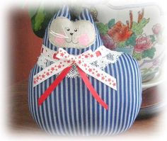 Cat Pillow Doll Cloth Doll 7 in Cat PATRIOTIC by CharlotteStyle, $14.00