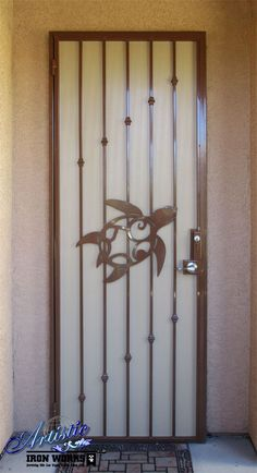 Wrought Iron Security Door with plasma cut turtle - Model: SD0393