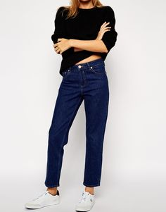 ASOS Thea Girlfriend Jeans in Rich Dark Wash Blue