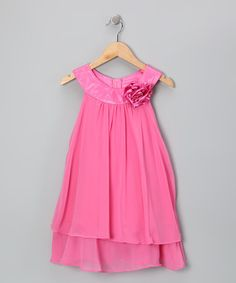 Take a look at this Fuchsia Flower Yoke Dress - Toddler & Girls by Kid's Dream on #zulily today!