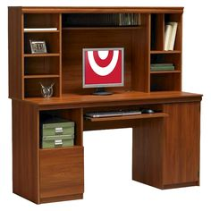 Ameriwood Computer Desk With Hutch Cherry