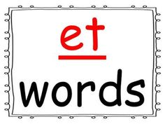 Students practice reading words in the -et word family as you go through the power point presentation. This is a great activity for introducing a new word family or for rhyming.