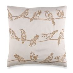 Birds On A Wire Throw Pillow in Taupe - BedBathandBeyond.com