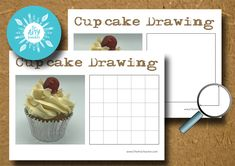 Cupcake Grid Drawing Teach Dessin Le professeur Arty
